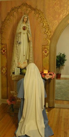 """No, we don't worship the Blessed Mother.  We honor her who bore and cared for our Lord. We ask her prayers on our behalf.  """"From this day forward, all generations will call me blessed."""" -Luke 1:48"""