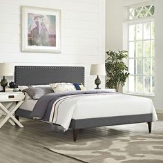 Lyka King Fabric Platform Bed with Squared Tapered Legs