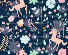 FABRIC: Unicorns in the Garden of Hesperides. spoonflower.com
