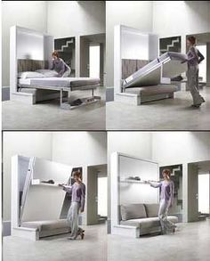No wasted space with a plain wall - bed by night, sofa by day. Great idea! I like this as long as it's sturdy enough to really be able to use the couch...