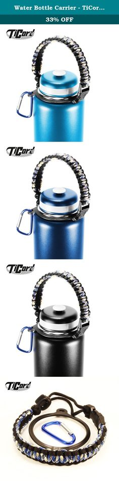Water Bottle Carrier - TiCord is Stylish Paracord Holder and Survival Bracelet - Perfect For Outdoor Sports, Fitness, Hiking and Camping (Blue Camo/Black). Are you looking for a best water bottle carrier? TiCord is what you need! Designed to be useful! •Comes in Great Variety of Colors. Mix and match carabiner and handle colors to suit your personal style. •Made of high quality materials to protect your favorite hydro flask and water bottle from getting dropped and damaged •Designed in…