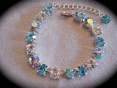 Aquamarine Tennis Bracelet, Swarovski aquamarine bracelet,light blue rhinestone bracelet, aqua bracelet,