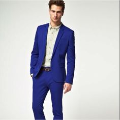 With a white shirt! Blue Blazer Outfit, Blazer Outfits, Trouser Suits, Trousers, Skinny Fit Suits, Suits You, Suit Jacket, Style Inspiration, Fashion Outfits