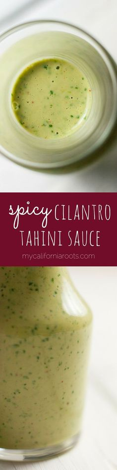 This great tahini sauce recipe has cilantro and cayenne for maximun deliciousness! It's perfect on veggie wraps, grain bowls, or as a dressing.