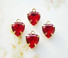 Vintage Swarovski Crystal Ruby Red Heart Charms  by alyssabethsvintage on Etsy