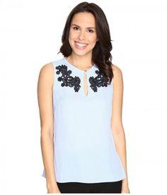 Ellen Tracy - Peplum Back Top (Stripe Light Blue) Women's Clothing