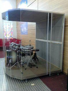 Drum Cage, Guitar Shelf, Drum Room, Drums Art, Church Stage Design, Sound Proofing, Home Studio, Recording Studio, Wall Art Designs