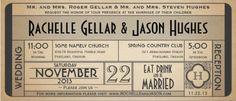 Vintage Classic Cinema Ticket Wedding Invitation.