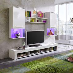 Diese Stylische Wohnwand Mit Hochglanz Fronten Besteht Aus Zwei  Hängevitrinen, XL Lowboard Und Wandregal