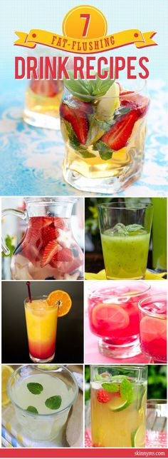 There is nothing like a cold, refreshing beverage on a hot day!  Enjoy these 7 Fat-Flusing Drink Recipes for Summer!  #summer #drinks #recipes