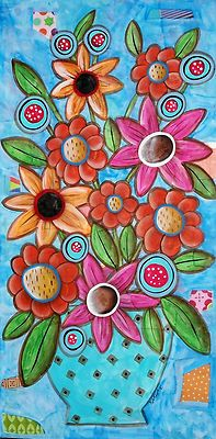 "12x24x3/4"", Blooms On Blue, original mixed media painting on stretched canvas, ready to hang, copyrighted, www.karlagerard.com"