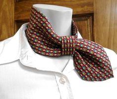 Woman ascot necktie necklace refashioned necktie by CuchiDesigns Old Ties, Kleidung Design, Tie Crafts, Neck Accessories, Creation Couture, Shirt Refashion, Diy Clothes, Diy Fashion, Upcycle
