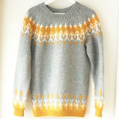 12 Inspiring Icelandic Sweater Patterns - Flax & Twine Just because some of these are not English, doesn't mean you can not make them. Learn to make a yoke sweater by Elizabeth Zimmerman and you have it made! Fair Isle Knitting Patterns, Sweater Knitting Patterns, Knitting Designs, Knit Patterns, Free Knitting, Fair Isle Pattern, Knitting Machine, Knitting Tutorials, Loom Knitting