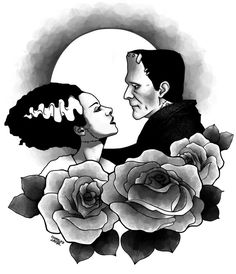 Love❤️ Bride Of Frankenstein Tattoo Halloween Horror Frankenstein Frankenstein Tattoo, Bride Of Frankenstein, Theme Tattoo, Pin Up, Vintage Horror, Flash Art, Couple Tattoos, Horror Art, Traditional Tattoo