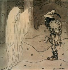 """But if you do wish to know, I can help you."", illustration from ""The King's choice"" tale, ""Swedish fairy tales"", by Elsa Olenius, Holger Lundbergh (trad), 1974 ; illustration by John Bauer (originally published in ""Bland Tomtar Och Troll"")"
