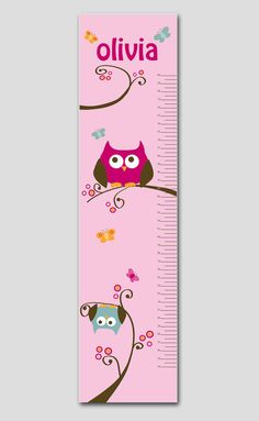 Personalized Pink Owl Growth Chart- Premium Poster Paper, Growth Charts for Girl, Nursery and Children Decor
