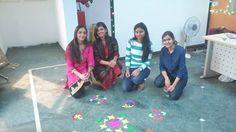 Infodart talented girls who created Rangoli on Diwali.