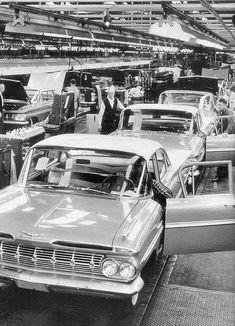 1959 Chevrolets on the assembly line...Re-pin brought to you by agents at #HouseofInsurance #Eugene, Oregon for #carinsurance.