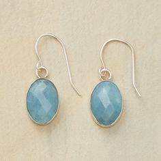 """MERMAID'S TREASURE EARRINGS--Legend traces aquamarine to a mermaid's treasure chest. These faceted ovals set in sterling silver sway beneath French wires. Handcrafted Sundance exclusive. 1-1/8""""L."""