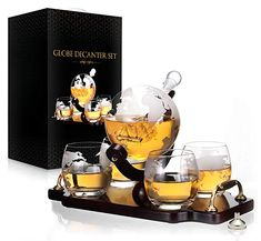 Whiskey Decanter Set World Etched Globe Decanter Antique Ship Glasses Bar Pour Funnel Stopper Liquor Dispenser Spirits Scotch Bourbon Vodka Rum Wine Tequila Brandy Perfect Gift 850 ml Visit the image link more details. (This is an affiliate link) Tequila, Vodka, Whiskey Decanter, Whiskey Bottle, Scotch, Globe, Liquor Dispenser, Good Whiskey, Bourbon Whiskey