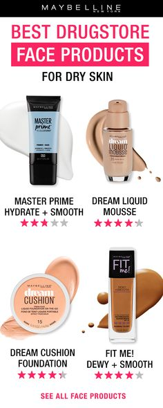 The BEST face products for dry skin ! Start off with our NEW Master Prime Hydrating and Blurring primer to hydrate skin and smooth complexion.  Dream Liquid Mousse foundation gives an airbrushed finish to dry skin. Dream Cushion Foundation is our first cushion foundation and provides a lumious, glowy finish to the skin with medium coverage.  And fan favorite Fit Me! Dewy and Smooth Foundation provides medium buildable coverage with a dewy finish.  Click through to see more face makeup…