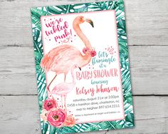 Pink Flamingo Baby Shower Invitation, Flamingo Baby Shower, Flamingo Party Invitations, PRINTABLE, Flamingo Invitation, Flamingo Party
