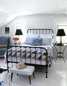 country living light and bright bedroom antique iron bed frame