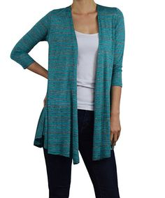 Look at this Sunny Crystal Jade & Gray Heather Stripe Open Cardigan on #zulily today!