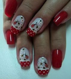 Nail art on a client Rs 1500 only Fancy Nails, Red Nails, Cute Nails, Pretty Nails, Hair And Nails, Fingernail Designs, Toe Nail Designs, Gel Nail Art, Ladybug Nails