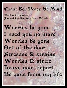 Chant for peace of mind Spell, chant, prayer, witchcraft Healing Spells, Magick Spells, Hoodoo Spells, Moon Spells, Wicca Witchcraft, Mantra, Smudging Prayer, Spells For Beginners, Luck Spells