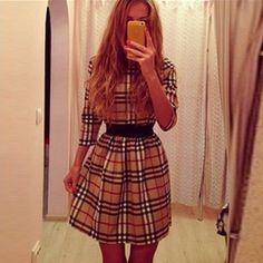 Retro Long Sleeve Round Neck Plaid Dress