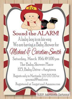 Fireman baby shower invitation fireman  first by MartinelaCartoons, $20.00