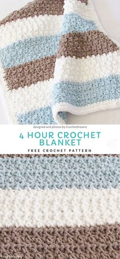 4 Hour Crochet Blanket Free Crochet Pattern Easy Blankets For Beginners.This pastel, delicate blankie will look lovely in children nursery or in a living room. It is light and yet very warm and soft. Easy and fun to make. Striped Crochet Blanket, Crochet Baby Blanket Free Pattern, Crochet For Beginners Blanket, Crochet Afghans, Easy Crochet Patterns, Beginner Crochet Blankets, Free Crochet Blanket Patterns Easy, Simple Crochet Blanket, Free Crochet Patterns For Beginners