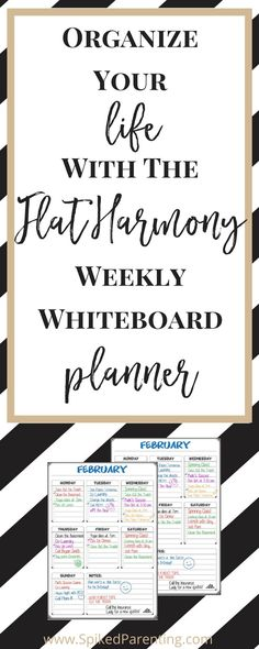 Organize Your Life with the Flat Harmony Weekly Whiteboard Planner | Magnetic Planner | White Board Planner | Weekly Planning | Meal Planning | Blog Planning