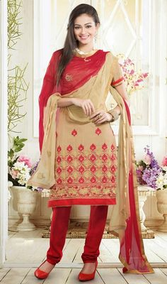 Flaunt your perennial beauty in this beige embroidered art silk churidar suit. Beautified with lace, moti, patch and resham work. #CasualWearDresses