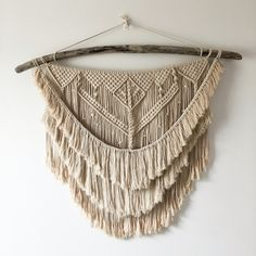 Layered macramé wall hanging using driftwood and 3mm cotton cord