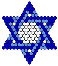 Blue Jewish Star Of David Perler Bead Pattern | Bead Sprites | Holidays Fuse Bead Patterns