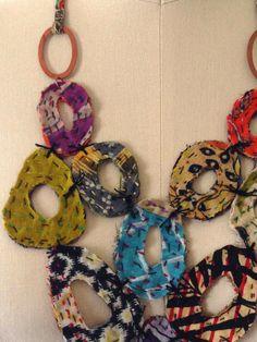 Gayle Ortiz: Still Workin' The Kantha Fabric Beads, Fabric Art, Fabric Scraps, Fabric Bracelets, Fabric Necklace, Textile Jewelry, Fabric Jewelry, Jewelry Crafts, Jewelry Art