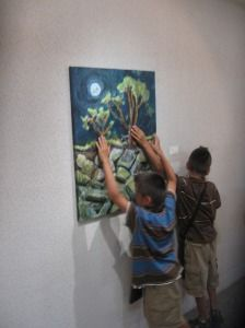 Morri AKA Gypsy Heart's Tactile Art show in Florida. Twin brothers explore the artwork together.