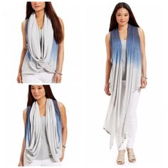 DKNY Jeans Wrap Ombré Cardigan No matter how you wear it, DKNY Jeans' snap and wrap sleeveless cardigan adds an instantly modern vibe to your wardrobe. Worn once made of viscose/ rayon/ poly blend  DKNY Sweaters Cardigans