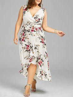 1ca08c1320fac Plus Size Tiny Floral Overlap Flounced Flowy Beach Dress