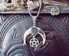 Labradorite Moon Moon and Pentagram by WickedandLovelyStore