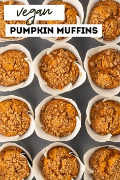 The best vegan pumpkin muffins, ever! These quick and easy muffins are made with a sweet brown sugar crumb topping. Super moist and fluffy. Add chocolate chips or nuts to the batter for extra goodness! Pumpkin Muffin Recipes, Healthy Muffin Recipes, Vegan Dessert Recipes, Vegan Breakfast Recipes, Cooking Recipes, Homemade Pumpkin Puree, Vegan Thanksgiving, Vegan Kitchen, Vegan Pumpkin
