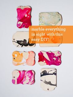 Marbleize tags, boxes, bottles - pretty much anything - with this easy DIY technique. All you need is nail polish - design mom Diy Nagellack, Nagellack Design, Fun Crafts, Diy And Crafts, Crafts For Kids, Paper Crafts, Diy Projects To Try, Craft Projects, Craft Ideas