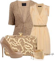"""Silk Wrap Dress & Taupe"" by happygirljlc on Polyvore"