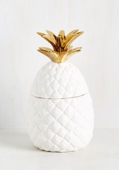 Just Anana Day in Paradise Container. Bring the beauty and bounty of the tropics to your home with this pineapple container! #white #modcloth