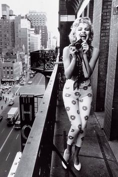 """johnny-cool: """"Marilyn Monroe on the balcony of the Hotel Chelsea in New York City, 195?"""""""