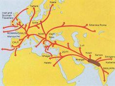 Map of Gypsy migration - image Romani Rad - Bildung History Of India, European History, World History, Ancient History, Family History, Modern History, Ancient Aliens, American History, Dna Genealogy