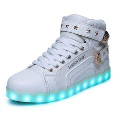[Present:kleines Handtuch]Weiß 43 High Sport Freizeit Damen Led Leuchtende Neu Licht Light weise Schuhe Top Farbwech D17sAm9