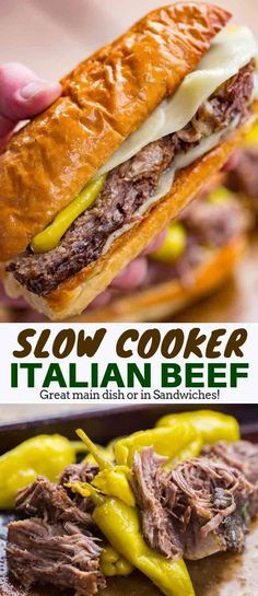 Italian Beef - Dinner, then Dessert Easy Italian Beef served in hoagie rolls for the perfect sandwich your guests will love with all the classic Italian Beef flavors. Italian Beef Recipes, Slow Cooker Italian Beef, Italian Beef Sandwiches, Italian Roast Beef, Shredded Beef Sandwiches, Hoagie Sandwiches, Slow Cooker Recipes, Crockpot Recipes, Cooking Recipes